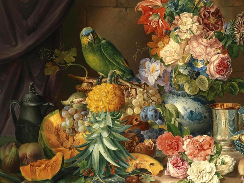 Пазл Собирать пазлы онлайн - Натюрморт с попугаем