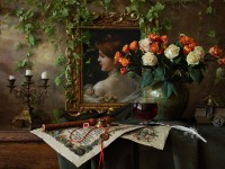 Собирать пазл Натюрморт с портретом онлайн