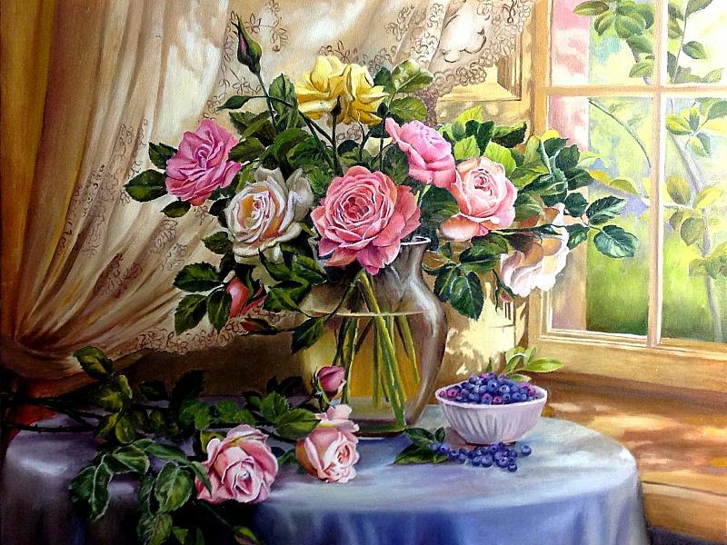 Пазл Собирать пазлы онлайн - Натюрморт с розами