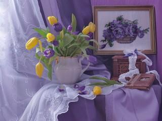 Собирать пазл Натюрморт с вышивкой онлайн
