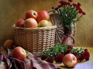 Собирать пазл Натюрморт с яблоками онлайн