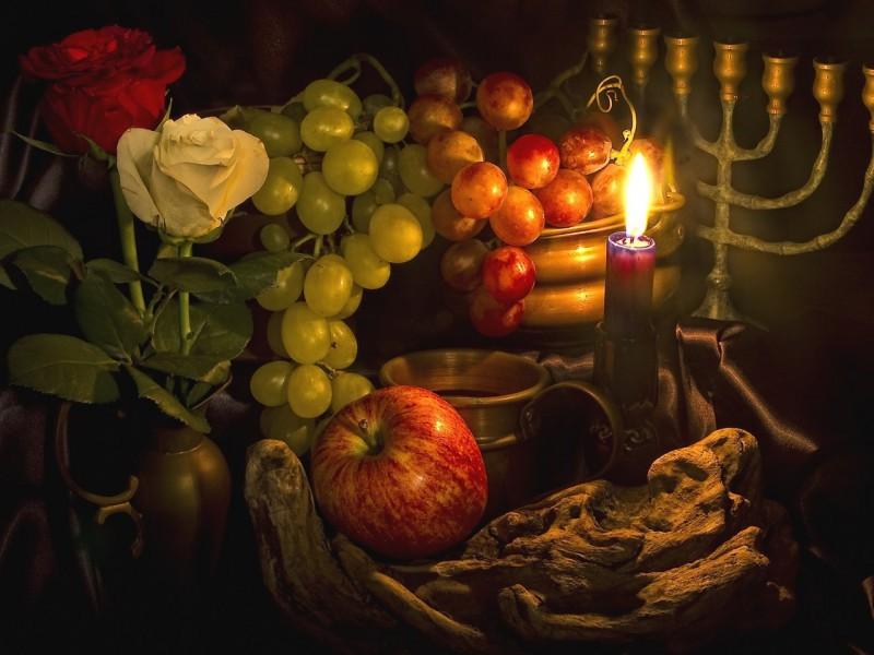 Пазл Собирать пазлы онлайн - Натюрморт со свечой