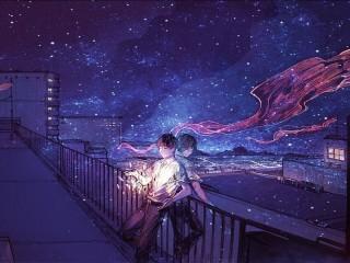 Собирать пазл Ночь на крыше онлайн