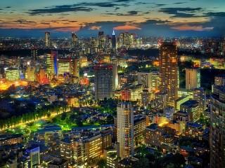 Собирать пазл Ночь в Токио онлайн