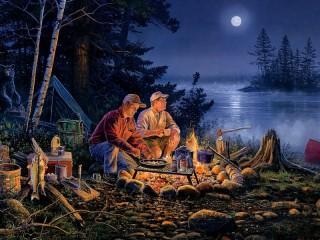 Собирать пазл Ночная рыбалка онлайн
