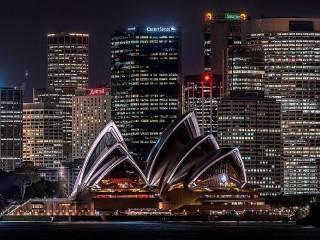 Собирать пазл Ночной Сидней онлайн