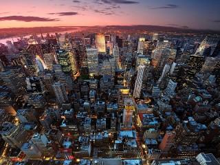 Собирать пазл Ночной Нью-Йорк онлайн