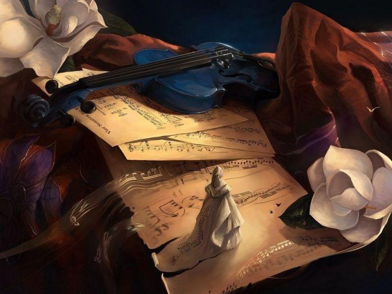 Пазл Собирать пазлы онлайн - Ноты и скрипка