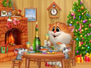 Собирать пазл Новый Год у кота онлайн