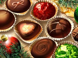 Собирать пазл Новогодние конфеты онлайн