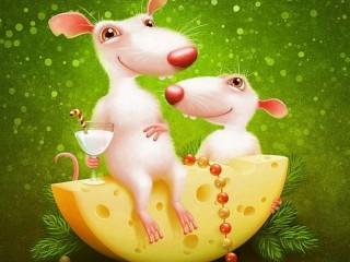 Собирать пазл Новогодние крысы онлайн