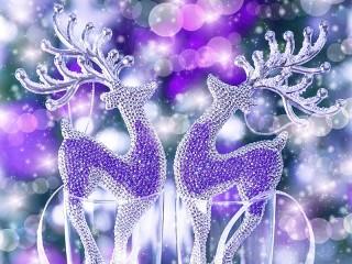 Собирать пазл Новогодние олени онлайн