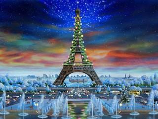 Собирать пазл Новогодний Париж онлайн