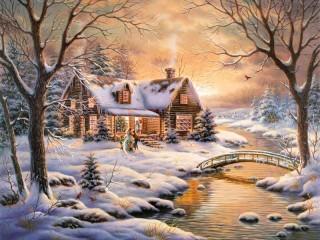 Собирать пазл Новогодний пейзаж онлайн