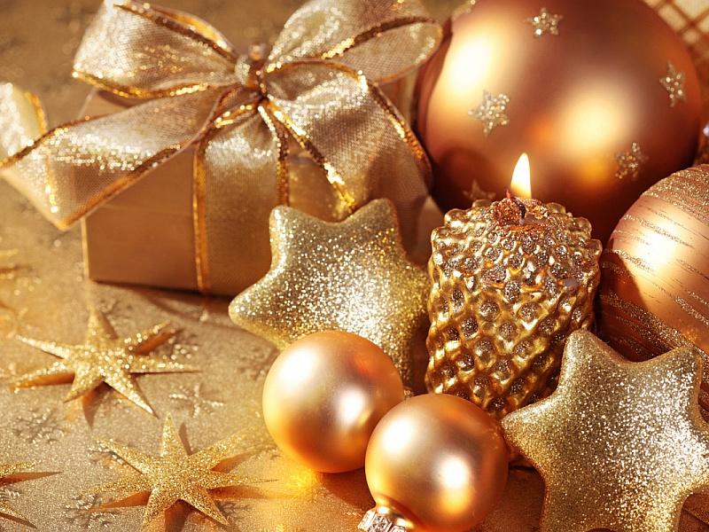 Пазл Собирать пазлы онлайн - Новогодний золотой