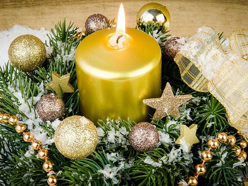 Пазл Собирать пазлы онлайн - Новогодняя свеча