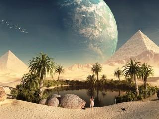 Собирать пазл Оазис и пирамиды онлайн