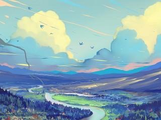 Собирать пазл Облака над дорогой онлайн