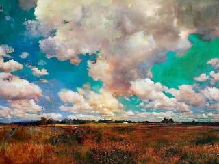 Собирать пазл Облака над полем онлайн