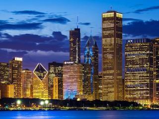 Собирать пазл Огни Чикаго онлайн