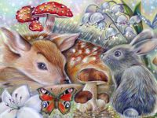 Собирать пазл Олененок и заяц онлайн