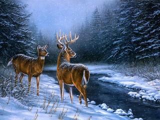 Собирать пазл Олени зимой онлайн
