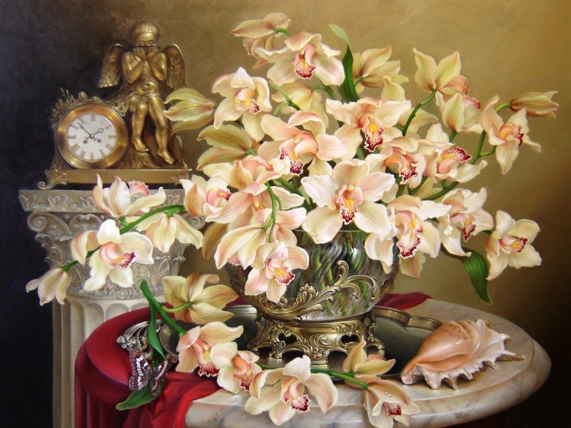 Пазл Собирать пазлы онлайн - Орхидеи и часы