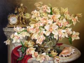 Собирать пазл Орхидеи и часы  онлайн