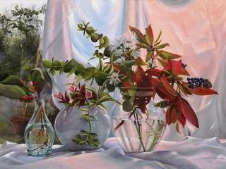 Собирать пазл Орхидеи и хризантема онлайн