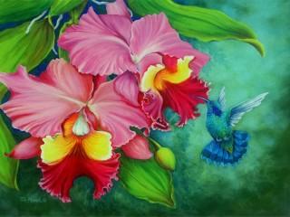 Собирать пазл Орхидеи и птичка онлайн