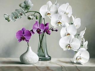 Собирать пазл Орхидеи в вазах онлайн