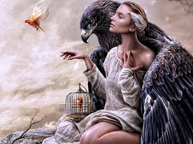 Пазл Собирать пазлы онлайн - Орёл и девушка