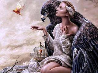 Собирать пазл Орёл и девушка онлайн