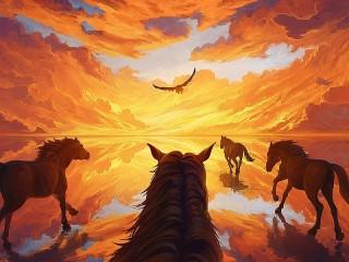 Собирать пазл Орёл и кони онлайн