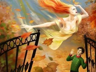 Собирать пазл Осень и юноша онлайн