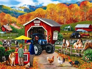 Собирать пазл Осень на ферме онлайн