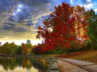 Собирать пазл Осень на набережной онлайн