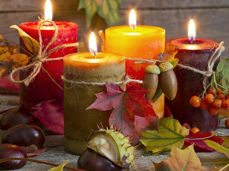 Пазл Собирать пазлы онлайн - Осенние свечи