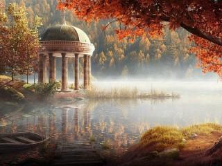 Собирать пазл Осенний туман онлайн