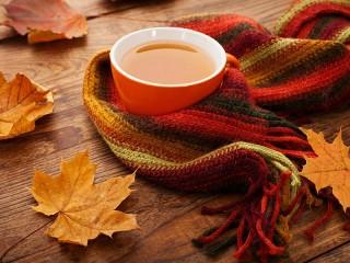 Собирать пазл Осенний чай онлайн