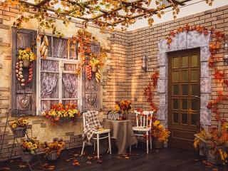 Собирать пазл Осенний дворик онлайн
