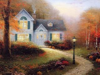 Собирать пазл Дом с фонарем онлайн