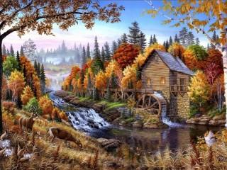 Собирать пазл Осенний пейзаж онлайн