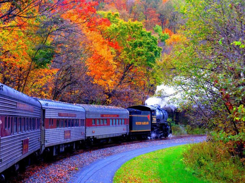 Пазл Собирать пазлы онлайн - Осенний поезд