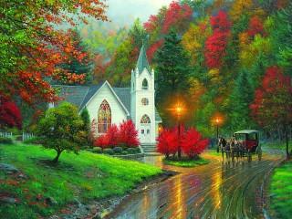 Собирать пазл Осенний вечер онлайн