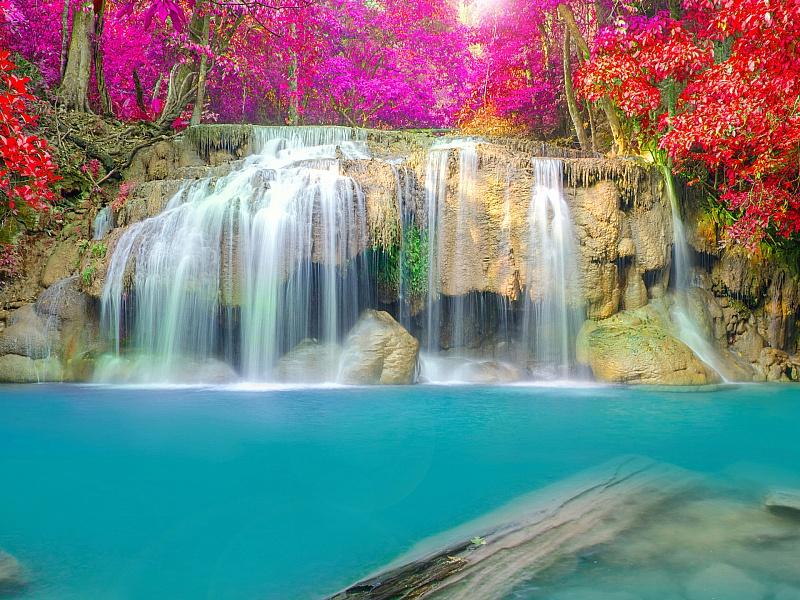Пазл Собирать пазлы онлайн - Весенний водопад