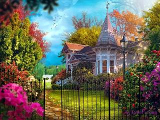 Собирать пазл Особняк с садом онлайн
