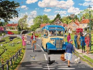 Собирать пазл Остановка автобуса онлайн