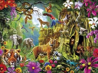 Собирать пазл Открытие джунглей онлайн