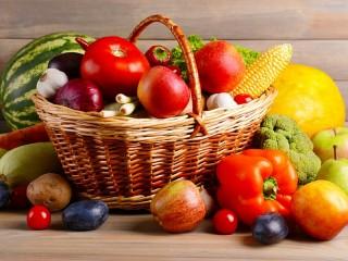 Собирать пазл Овощи в корзине онлайн
